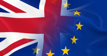 British and European Relations Concept Image - Flags of the UK and Europe
